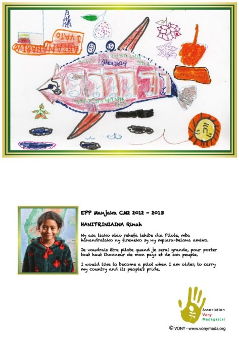 Postcard designed by school kids from Manjaka